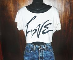LOVE crop tshirt  Love tshirt. Creme tee. American by sparkedwings, $24.00
