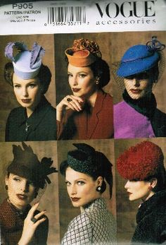 Vogue Accessories 7657 Misses' Vintage Hats Sewing Patterns - Uncut - One Size