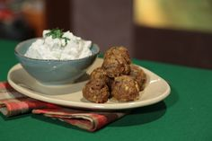 the chew | Recipe  | Daphne Oz's Spiced Lamb Meatballs.  Raita, an Indian dipping sauce made primarily of yogurt, provides a point of contrast to the lean lamb and savory meatball mixture.