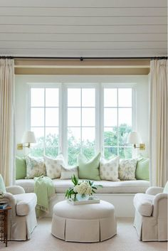 Bedroom Sitting area Window Seat with Club Chairs