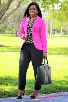 Hot pink black leopard #colorblocking  Curves and Confidence | Inspiring Curvy Fashionistas One Outfit At A Time