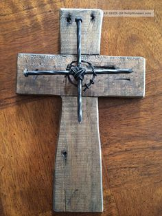 Wall Cross Wooden Reclaimed Wood Western Cowboy Church Rustic Decor Barb Wire Christianity photo