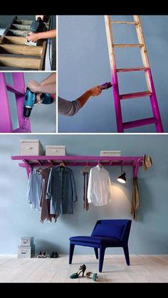 DIY laundry room hanger section. Maybe above a side my side washer&dryer