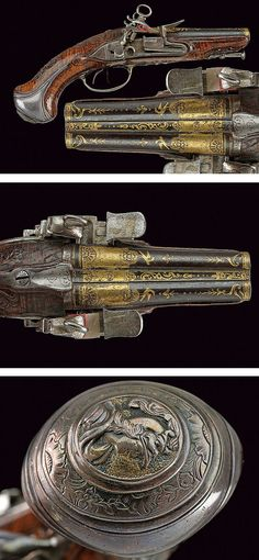 A beautiful double-barrelled flintlock pistol,dating: last quarter of the 18th Century  provenance: Torino .