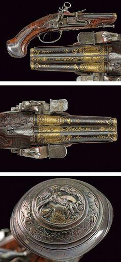 A beautiful double-barrelled flintlock pistol,dating: last quarter of the 18th Century provenance: Torino .