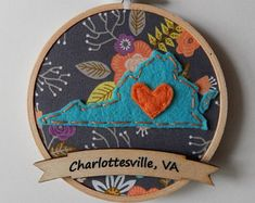 Custom State Embroidery Hoop Ornament with Gray & Floral Fabric