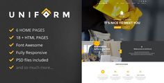 Buy Uniform - Building & Construction HTML Template by jellythemes on ThemeForest. Uniform is a clean and professional site template, perfect for Building, Construction and any agency construction. Template Site, Html Templates, Business Company, Corporate Business, Website Themes, Nice To Meet, Free Website, Web Design, Coding