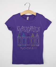 This Purple 'Kindergarten Rocks' Bling Tee - Kids is perfect! #zulilyfinds