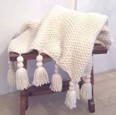 EVY HOME DECOR - Knitted Natural Cream Wool Blanket with Tassels 47x59 inch (93x150cm) Handmade Home Decor, Wool Blanket, Tassels, Throw Pillows, Décor Ideas, Stuff To Buy, Cream, Natural, Tejidos