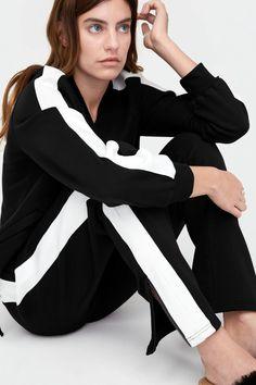 UGG Merino Wool Lizy Jacket In Black/White - Google Search Black And White Google, Black White, Full Look, Bold Stripes, Merino Wool, Wool Blend, Uggs, Street Wear, Gift Boxes