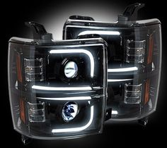 (14-15 Chevy Silverado 1500) RECON Smoked Projector Headlight w/ Ultra High Power Smooth OLED Halos & DRL