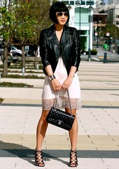 Unless you're Cher Horowitz and have a white sheer jacket on hand (and a Beverly Hills house party in 1994 to attend), top your skimpiest dresses with a leather bomber. The style adds just enough androgynous attitude to keep the outfit from feeling too risqué.