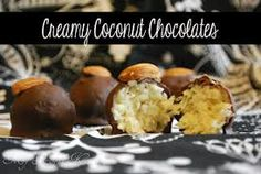 Ingredients        1 14oz bag of shredded coconut (about 4 1/2 cups)      1 14oz can of sweeten condensed milk      1 package of chocolate Almond Bark      Optional: whole almonds to place on top