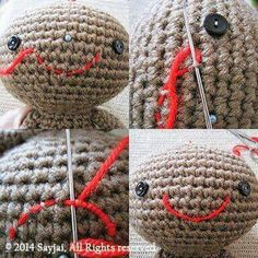 How to crochet eyes nose whiskers amigurumi pinterest crochet tutorial how to embroider mouth amigurumi crochet patterns k and j dolls k and j publishing ccuart Image collections