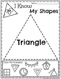 planning Looking for awesome shapes worksheets and games to use in your classroom? This and Shapes - Kindergarten Math Unit is filled with hands-on activities and no-prep worksheets to help children learn about and use shapes. Preschool Lessons, Preschool Worksheets, Preschool Classroom, Preschool Learning, Preschool Shapes, Shapes Worksheet Kindergarten, Shapes Worksheets, Kindergarten Activities, Triangle Worksheet