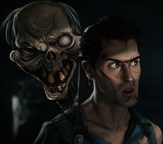 Started watching Ash vs Evil Dead last night, next thing I know it's and I'm on the last episode! Such a great show. Here's a quick digital painting I just finished of Ash and Henrietta from Evil Dead Evil Dead 1981, Ash Evil Dead, Best Horror Movies, Scary Movies, Luke Cage Movie, Horror Movie Collection, Evil Dead Series, Horror Pictures, Bruce Campbell