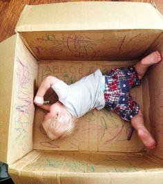 new spin on bad parenting- BAD= throw your kid in a box. GOOD= give him CRAYONS! (so he can eat them when he gets hungry)