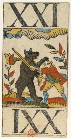 Carte de tarot animalier Lemmls et Dorff, XXI d'Atout montrant un ours luttant (BnF, Estampes et photographie)