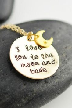Personalized jewelry, I love you to the moon and back, mothers 14k gold filled necklace, handstamped necklace