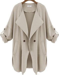 Apricot Long Sleeve Pockets Trench Coat 26.67