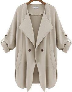 Apricot Long Sleeve Pockets Trench Coat 26.67
