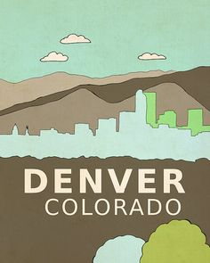 Denver Colorado // Nursery Decor, Modern Baby, Typography Poster, City Skyline, Giclee, Illustration, American Travel Theme, Digital