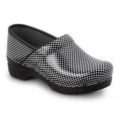 Dansko SDK010202 Women's Black/White Check Patent MaxTrax Soft Toe Slip Resistant Clog