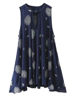 Navy Tribe Pattern Cut Out Detail Swing Dress