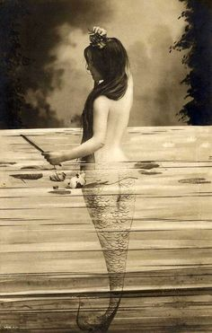 Mermaid with waterlilies french postcard, ca 1900