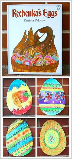 Easter egg craft for kids inspired by the picture book, Rechenka's Eggs!  This is such a great story!