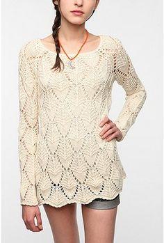 UrbanOutfitters.com > Staring at Stars Crochet Swing Tunic Sweater $39.99