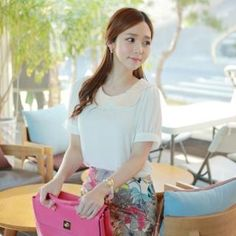 Sequined Collar Chiffon Top