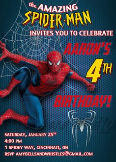 Spiderman Birthday Invitation Custom Personalized - Digital File