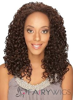 Glamorous Medium Curly Brown No Bang  Lace Wigs for Women 18 Inch