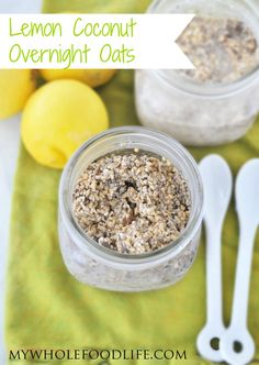 Lemon Coconut Overnight Oats.  Easiest breakfast ever.  No cooking required!  Make 5 at a time for easy breakfasts all week.  They also travel well! vegan,glutenfree