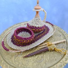 Dollhouse Miniature Moroccan Serving Set - Coiled Decanter / Bowl / Tray - 12th scale IGMA