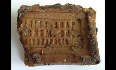 Here's a piece of soap we recently found - pretty grimy, but still cool. Not unlike ourselves.