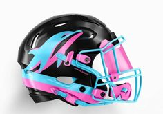These NFL helmet concepts change out the classic design of many of the NFL's teams for new designs and color schemes based on the iconic American cities they call home. Star Wars Helmet, Miami Dolphins, Bicycle Helmet, Football Helmets, Nfl, Hats, Color Schemes, Cities, Change