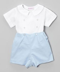 Look what I found on #zulily! SIMI White Top & Light Blue Pique Shorts - Infant & Toddler by SIMI #zulilyfinds