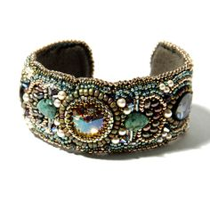 "Bead Embroidered Cuff Bracelet ""Rainforest"" Paua Shells, Swarovski Crystals, Jewelry, Gift, Holiday, Statement Bracelet BT2346 Amy Johnson. $245.00, via Etsy."
