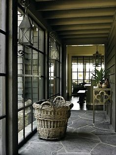 slate flooring love this rear hall in a chic Blue Ridge Mountains home - design Nancy Warren; architect D. photo Emily ill via Atlanta Homes amp; Blue Ridge Mountains, Modern Country, Country Style, Rustic Style, Modern Porch, Country Living, Estilo Country Chic, Masculine Interior, Slate Flooring