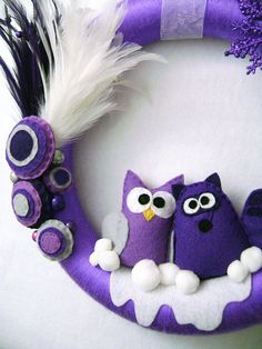 Silent Night Holiday Wreath - Owl and Raccoon Purple