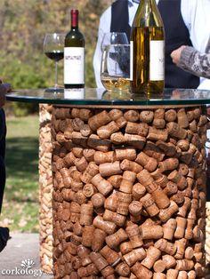 Corkology Champagne Cork Stopper Patio Table, As Shown Champagne Cork Crafts, Champagne Corks, Champagne Bar, Wine Cork Projects, Wine Cork Crafts, Cork Table, Wine Cork Ornaments, Little Gardens, Cork Art