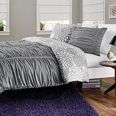 reversible gray comforter set, bath and body works