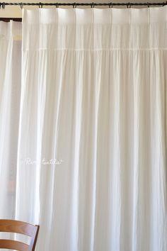 フラットギャザーカーテン ひだ山なし コットンカーテン(ダブルガーゼカーテン) 中厚地 【 リノコトン ホワイト 】 w110cm×H250cm~  ¥23,760(税込)~ ドレスのようにたっぷりのギャザーやふんわり感をふわふわのコットンダブルガーゼ、リノコトンを使ってデザインしました。 #コットンカーテン