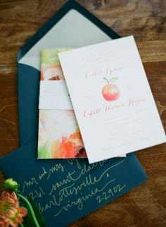 fall wedding invitations ideas watercolor fruits