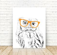 Owl, Woodland Nursery, Owl with Glasses, Illustration, Woodland Animals, Owl PRINT, Nursery Decor, 5x7, 8x10, 11x14 or 16x20 PRINT by off2market on Etsy