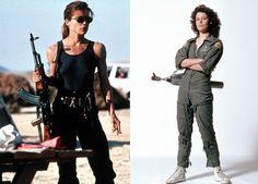 Female characters in action movies Sarah Connor (Linda Hamilton) and Ripley (Sigourney Weaver) Estante da Sala