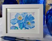 A framed ACEO of my watercolor 'Himalayan Blue Poppies'