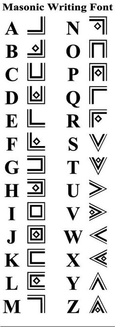 Alphabet Freimaurer masonic-writing-font - fonts and calligraphy